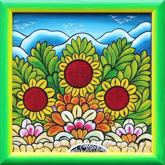 IGP257_Rashidi-Mzuguno_Three-Sunflowers_35x35cm_3900CZK_EUR160