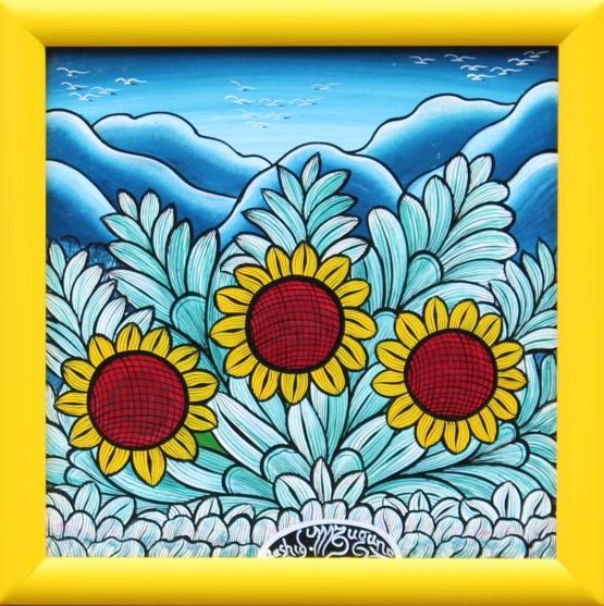 IGP258_Rashidi-Mzuguno_Three-Sunflowers_35x35cm_3900CZK_EUR160