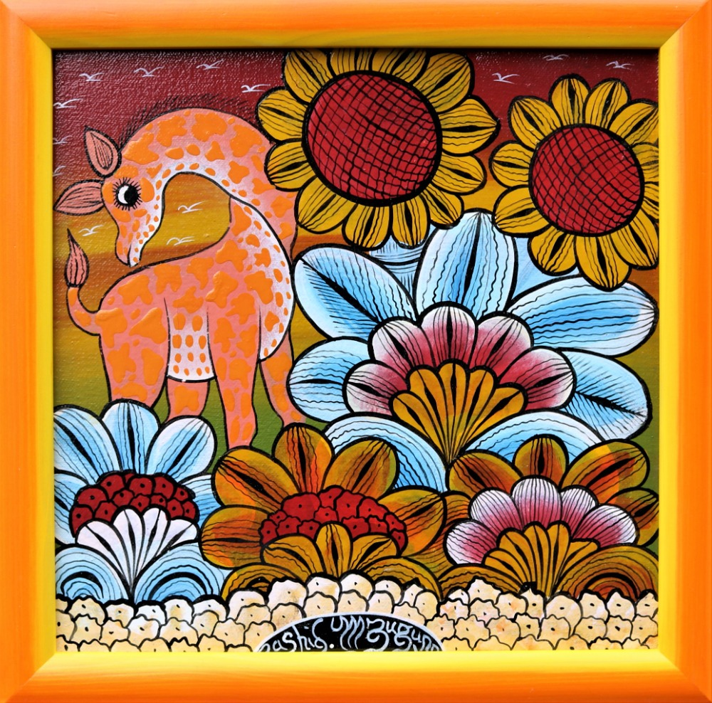 IGP389_Rashidi-Mzuguno_Giraffe2Sunflowers_32x32cm_3900Kč_EUR156